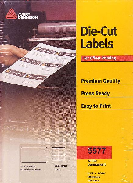 Avery Dennison Die-Cut White Permanent Labels for Small Offset Printing 3.25
