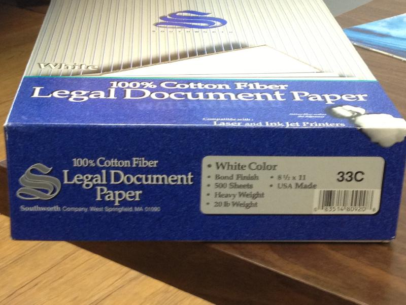 Southworth Legal Document Paper