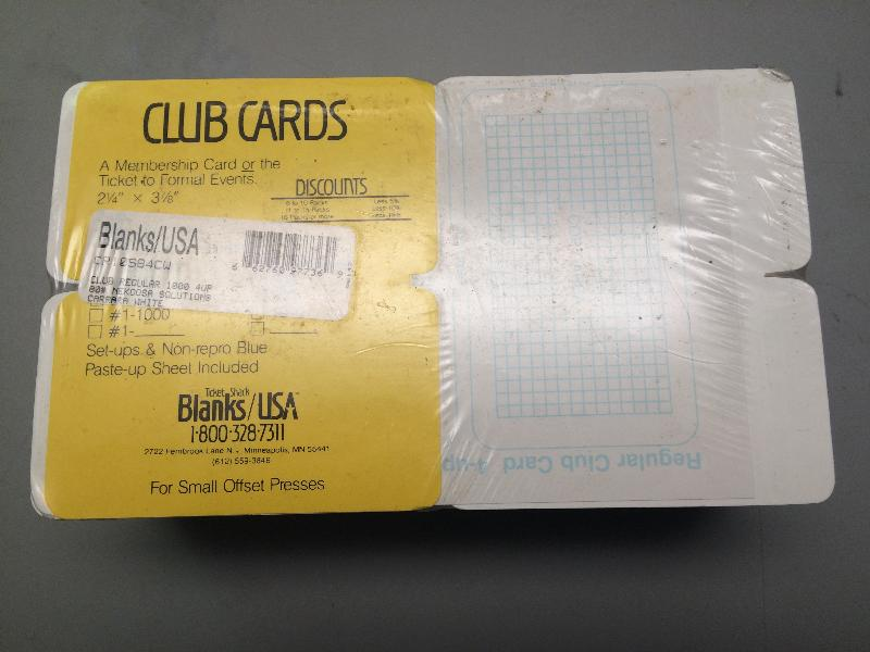 Blanks USA/Nekoosa Rounded Corner Club Cards 2.25 x 3.875, 80 Lb. 1000/pack - 1000 TICKETS/4 UP 4.625 x 7.875