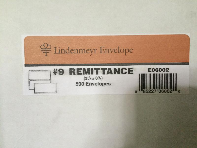 Lindenmeyr White Wove 24 lb. No. 9 Remittence Envelope - E06002 | 500 ENVELOPES PER BOX