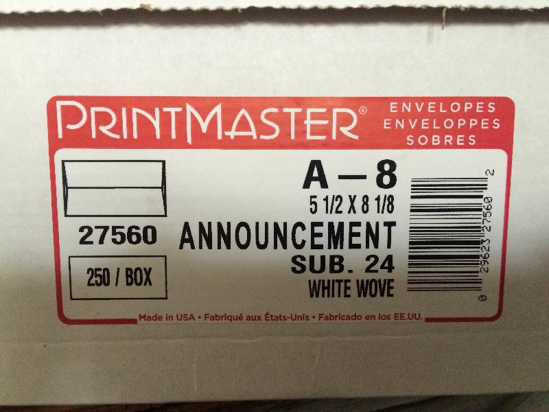 PRINTMASTER® Announcement White Wove 24# A-8 Envelope