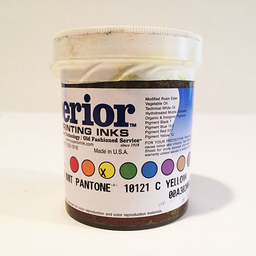 Superior® Printing Inks YC-4650 H/D IMIT Pantone® 10121 C Yellow Metallic Ink - Pantone® 10121 Yellow