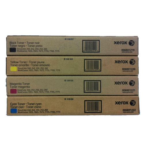 Xerox® DocuClor/WorkCentre CMYK Toner Set - GENUINE XEROX DOCUCOLOR 240 242 250 252 WORKCENTRE 7655 7665 7675 TONER SET