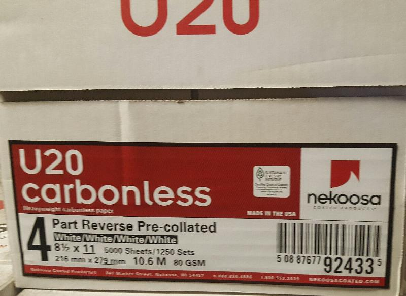 Nekoosa® Imation Heavyweight U20 Carbonless 4 Part Reverse All White Pre-collated - Sku: 92433 | 500 SHEETS PER REAM / 125 SETS