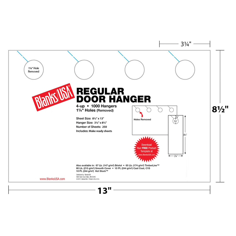 Blanks USA® Regular Door Hanger White Bristol 250 Sheets 8.5 x 13 in. 4-up 3.25 x 8.5 in. 1000 Finished Hangers