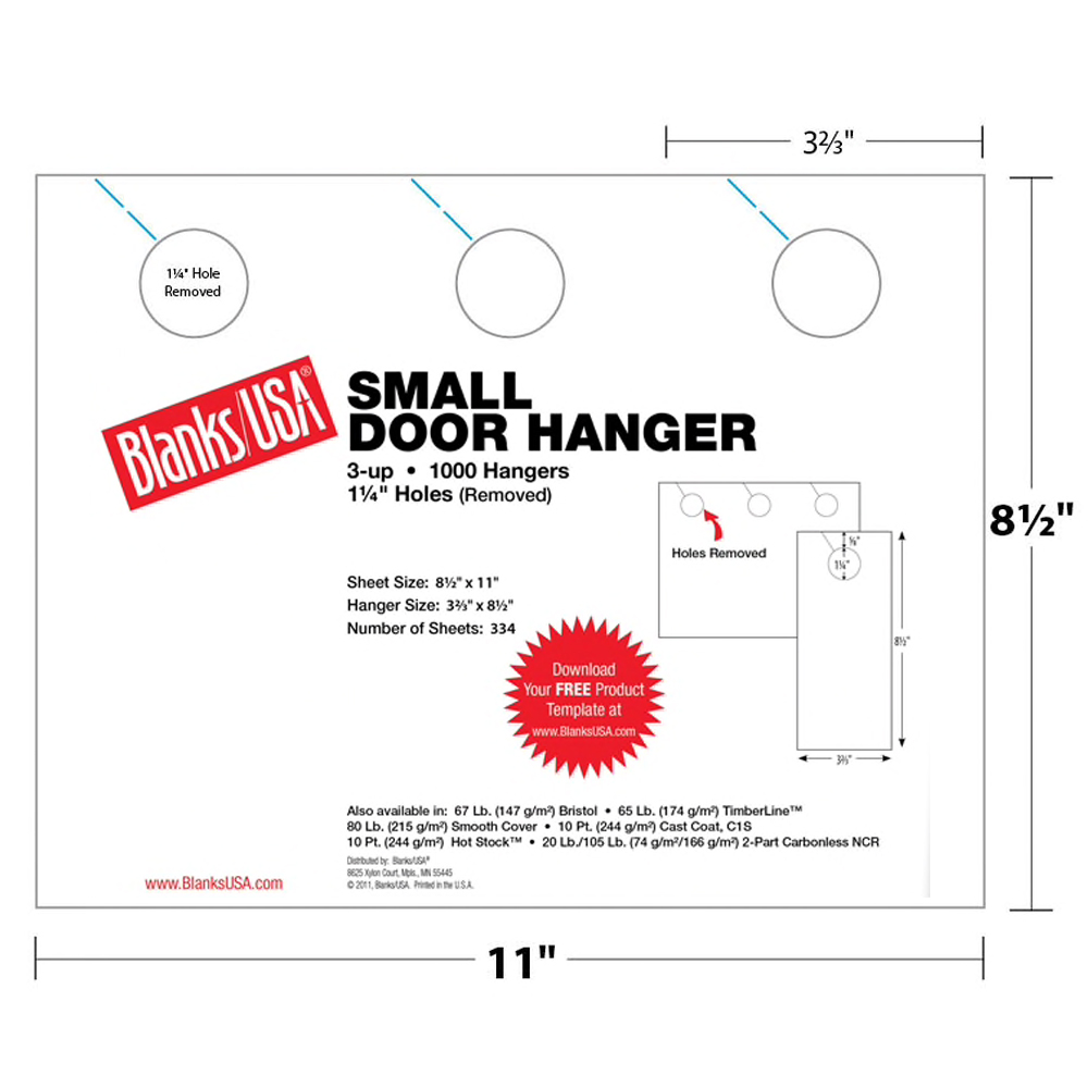 Blanks USA® Small Door Hanger Sunfish Yellow 250 Sheets 3-up 8.5 x 11 in. Sheet 3.67 x 8.5 in. 1000 Finished Hangers