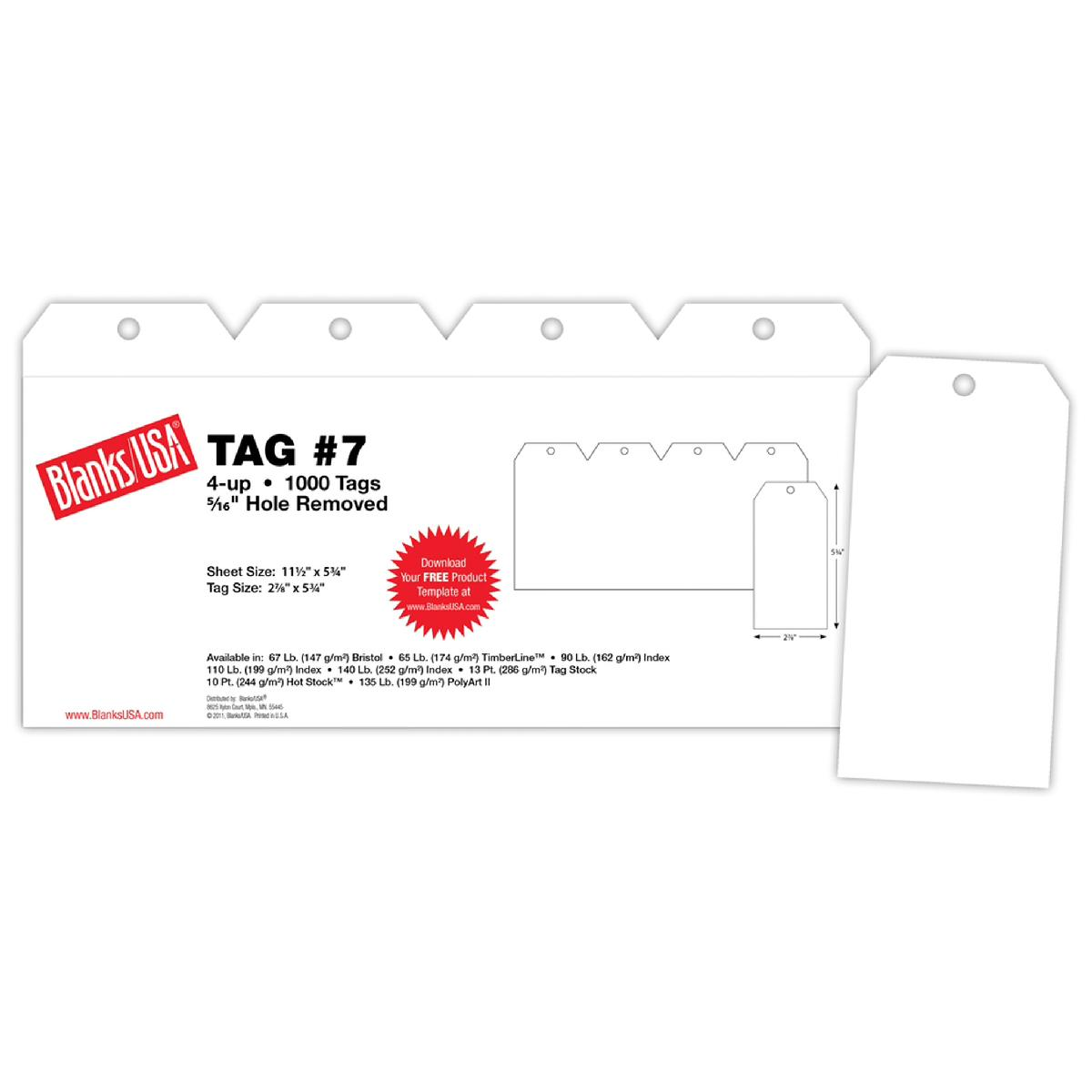 Blanks USA® TAG #7 White Index 110 lb. 250 Sheets 4-up 11.5 x 5.75 Tag 2.875 x 5.75 in