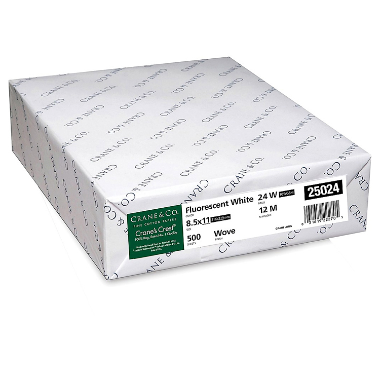 Crane's Choice® 25% Cotton Fluorescent White Wove 24 lb. 8.5x11 in. 500 Sheets per Ream