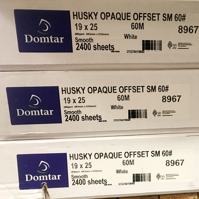Domtar® Husky Opaque Smooth White Offset 60lb. Text 19x25 in. 2400 Sheets/Carton