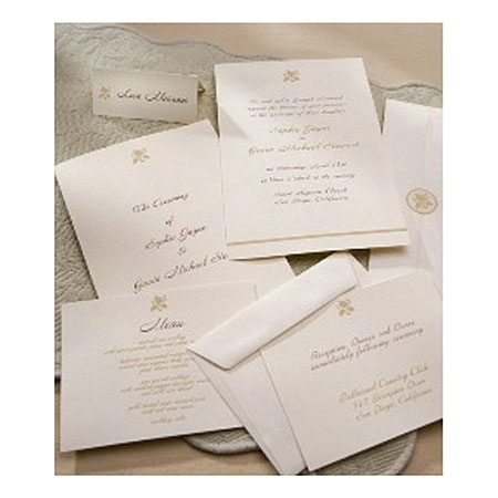 Gartner® Ivory Leaf with Bottom Border Invitation Set - Sku: 65734 | 50 Count