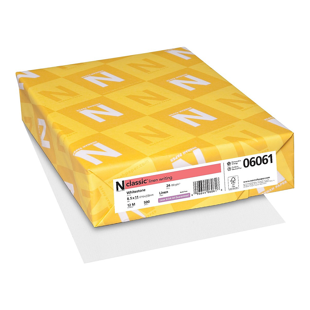 Neenah Paper® Classic Linen Whitestone 24 lb. Writing 8.5x11 in. 500 Sheets/Ream - Sku: 06061 | 500 SHEETS PER REAM