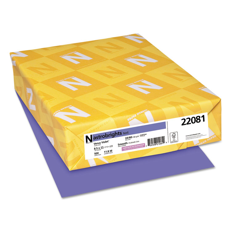 Neenah Paper® Astrobrights Venus Violet Smooth 24 lb. Text 8.5x11 in. 500 Sheets per Ream