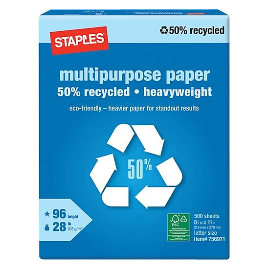 Staples® Bright White Heavyweight Multipurpose Paper 50% Recycled 8.5x11 in. 2500/Carton - Sku: 756970 | 2500 SHEETS PER CASE