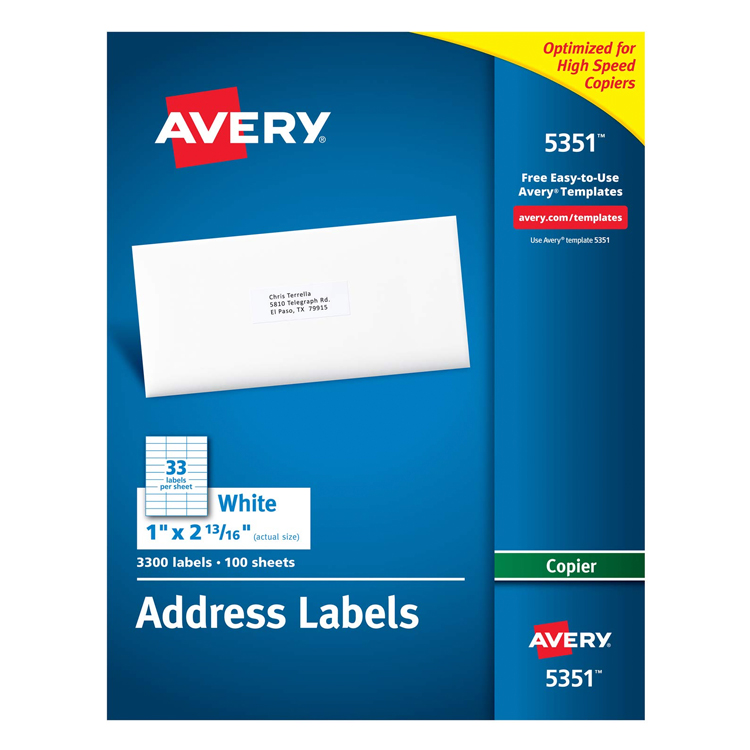 Avery® Address Labels White Permanent Adhesive 1 x 2.75 in. 100 Sheets 3300 Labels