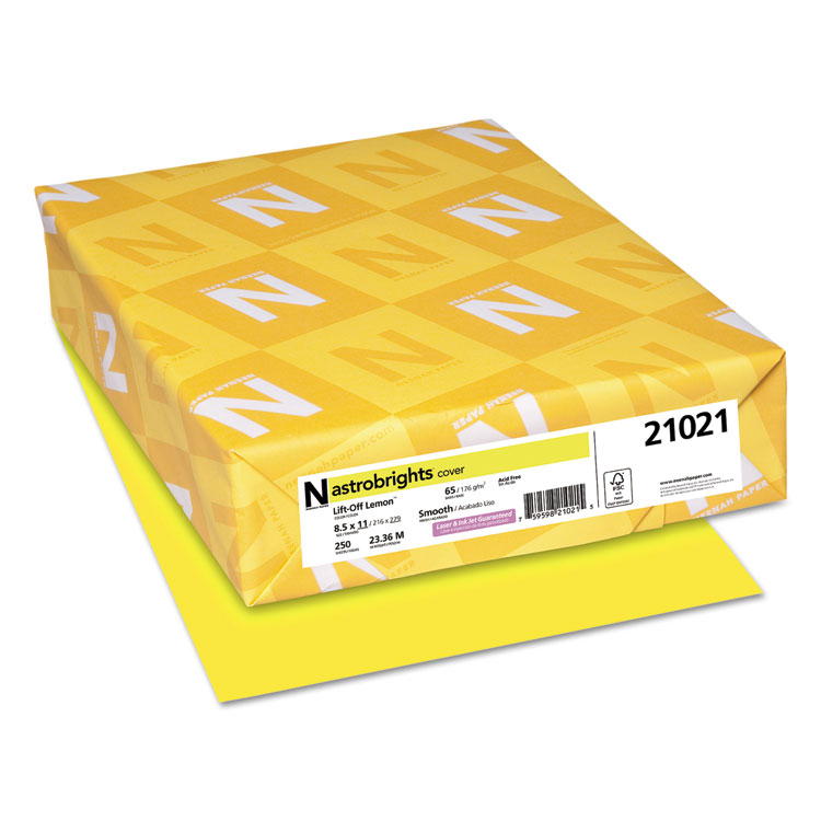 Neenah® Astrobrights Paper Lift-Off Lemon 65 lb. Vellum Cover 11 x 17 in. 250 Sheets