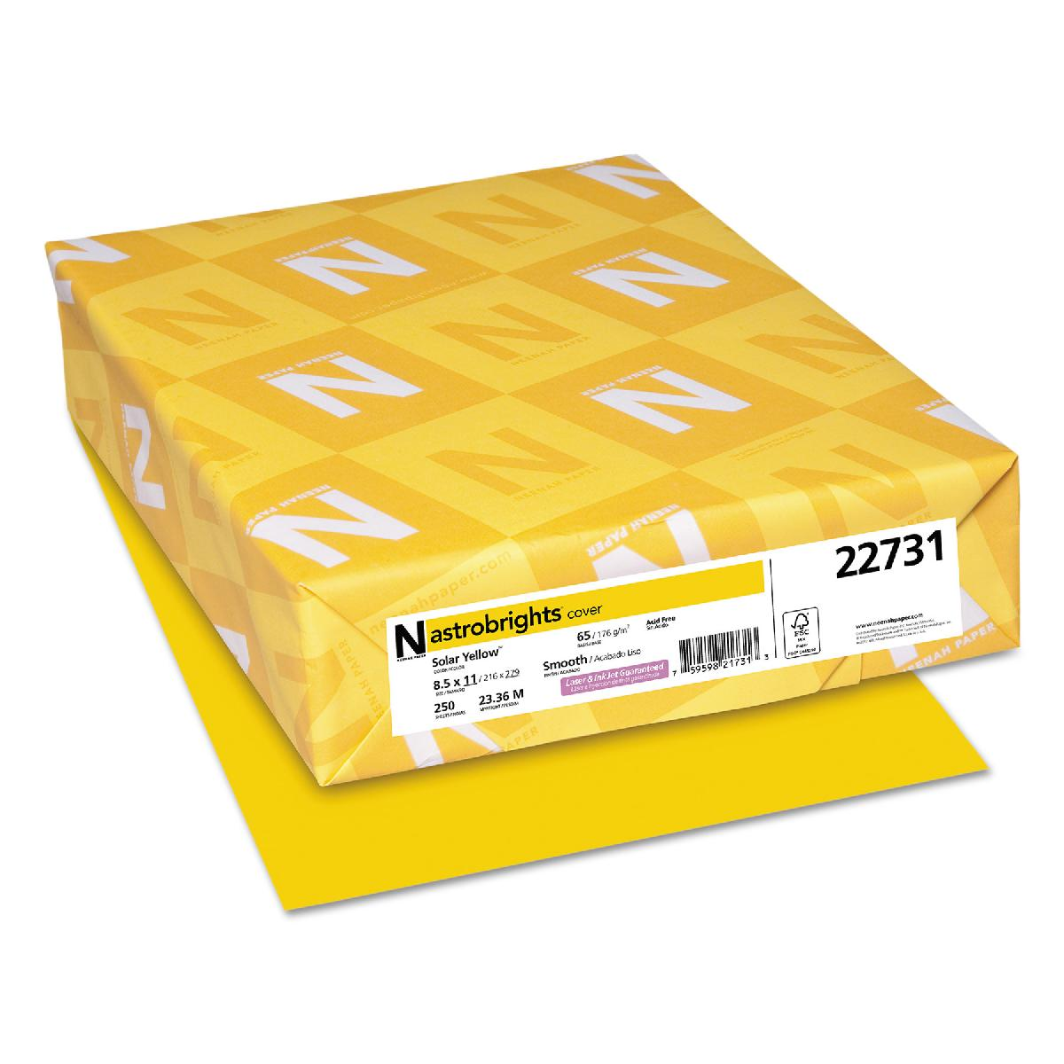 Neenah Paper® Astrobrights Solar Yellow Smooth 65 lb. Cover 8.5x11 in. 250 Sheets
