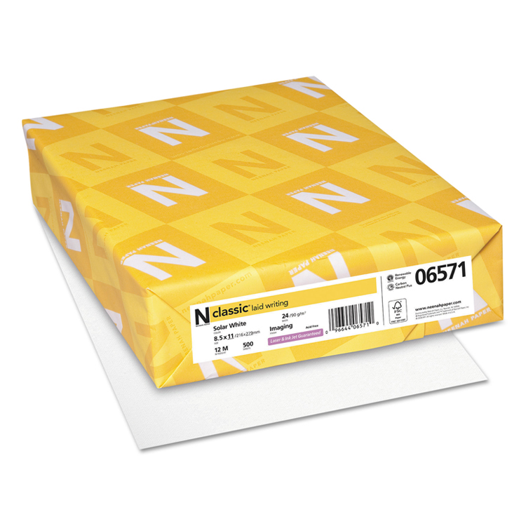 Neenah Paper® Classic Laid Solar White 24 lb. Imaging Writing 8.5x11 in. 500 Sheets