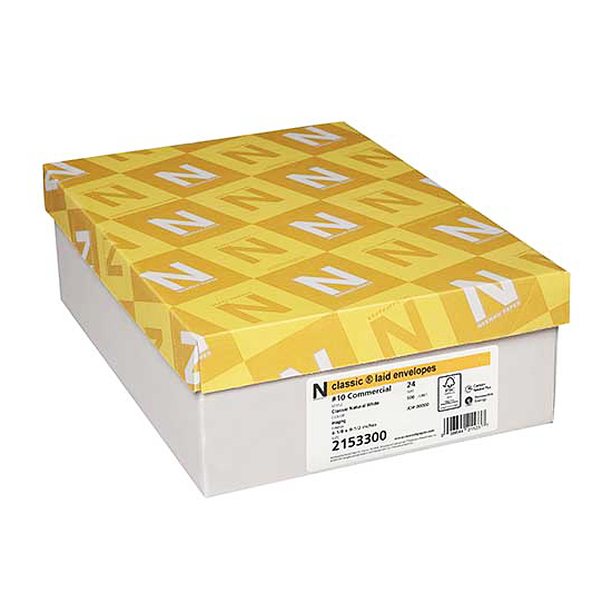 Neenah Paper® Classic Laid Classic Natural White 24 lb. No.10 Simple Seal® Envelopes
