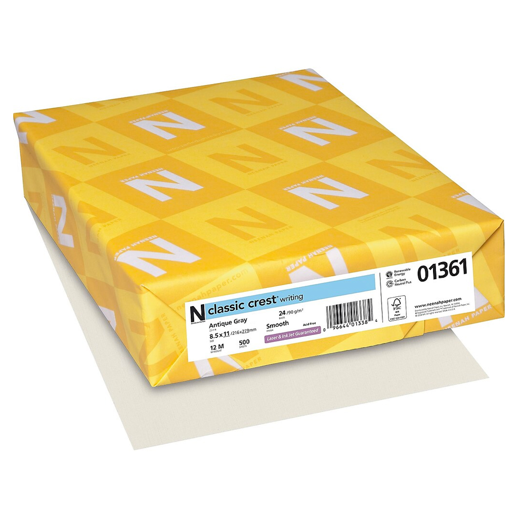 Neenah Paper® Classic Crest Antique Gray Smooth 80 lb. Cover 8.5x11 in. 250 Sheets