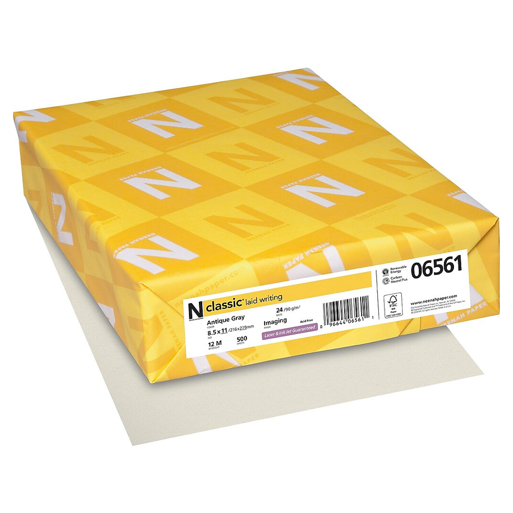 Neenah Paper® Classic Laid Antique Gray 24 lb. Writing 8.5x11 in. 500 Sheets per Ream