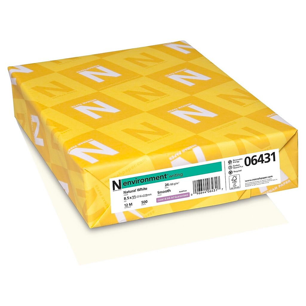 Neenah® Environment PC 100 Natural Smooth 24 lb. Writing Paper 8.5x11 in. 500/Ream - Sku: 05060 | 500 SHEETS PER REAM