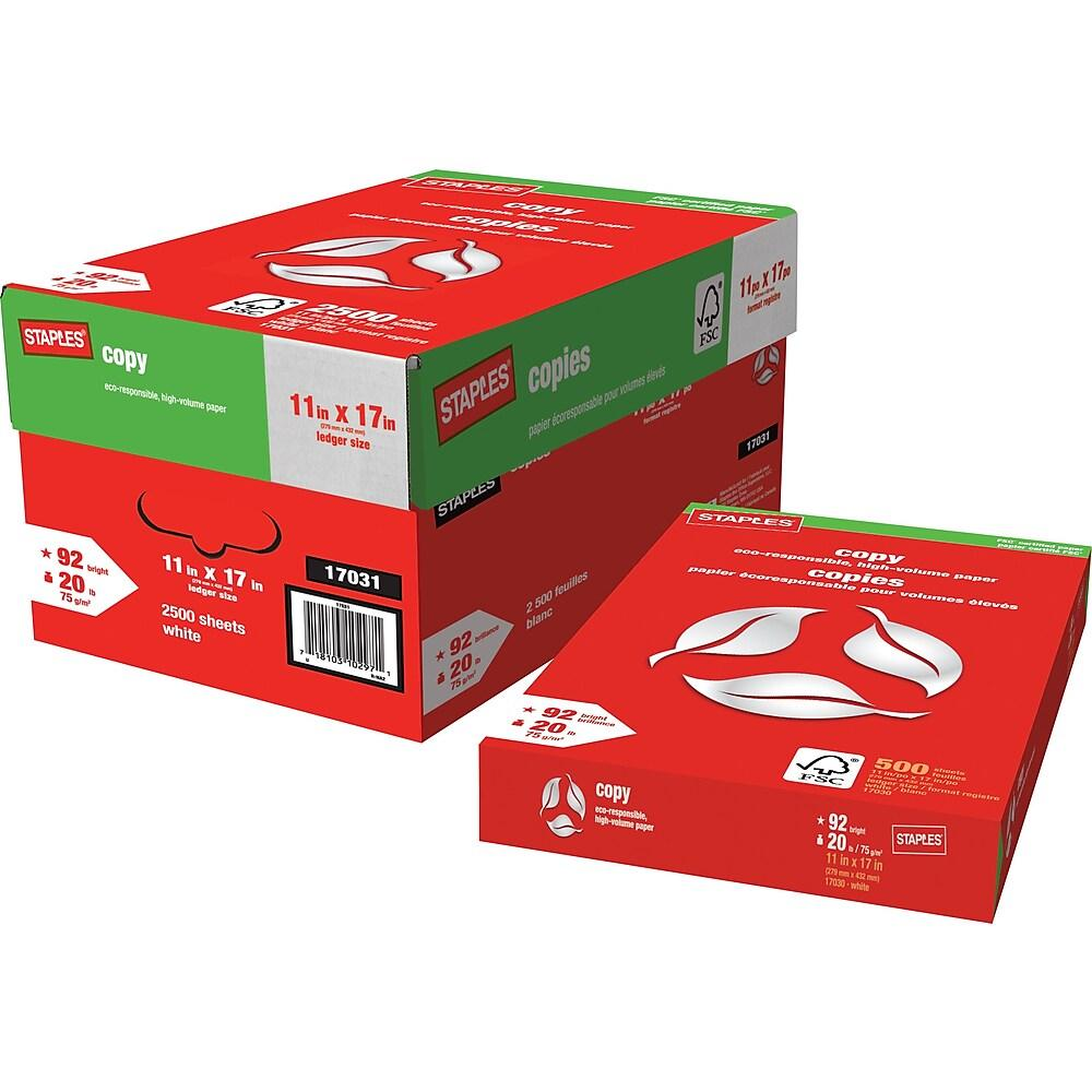 Staples Brand Fsc Certified White Bond 20 Lb Copy Paper 11x17 In 2500 Sheets Carton