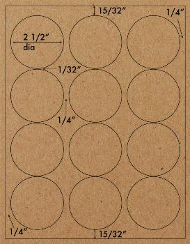"2 1/2"" Recycled Brown Kraft Permanent Adhesive Circle Labels 12 Up on 8.5x11 in."