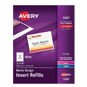 Avery® Name Badge 5392 Insert Refills 3x4 in. 300 Pcs - Sku: 5392 | 50 SHEETS 300 BADGES PER BOX