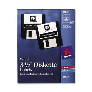 "Avery 3 1/2"" Laser Diskette Labels Permanent White Uncoated 70 Sheets 9 Per Sheet 630 Labels/Box - SKU: 5196 