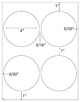 "4"" Diameter Circle Labels 4 Up on 8.5x11 in. Recycled Permanent White - Sku:4167RPW 