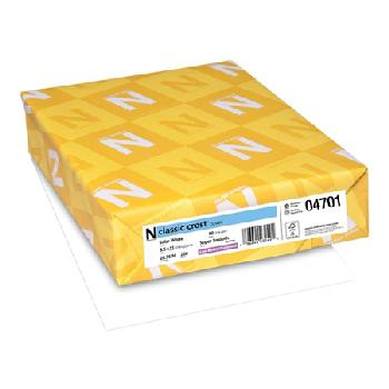 Neenah Paper® Classic Crest Solar White Smooth 80 lb. Cover 8.5x11 in. 250 Sheets/Ream - Sku: 04701 | 250 SHEETS PER REAM