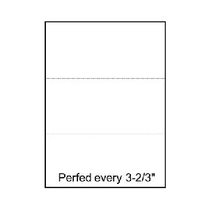 "White 24 lb. Bond Copy Paper 8.5x11 in. Pre-Perforated Every 3 2/3"" 500 Sheets Per Ream - Buy 5 Reams get FREE Shipping!"